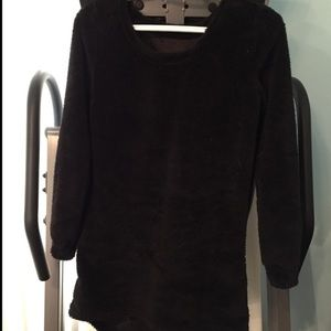 Sweaters - Black fuzzy sweater - so cute and warm-